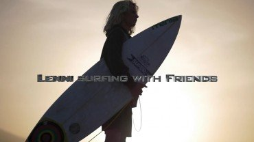 Lenni surfing with friends