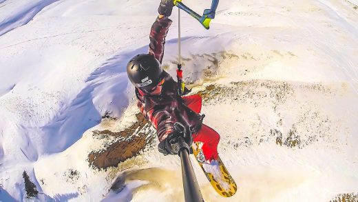 Going HUGE with a kite and snowboard at the Big Horn Snowkite Summit…