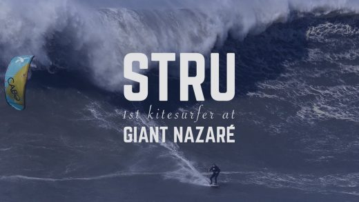 STRU 1st Kitesurfer at giant Nazaré