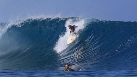 Girl from the Netherlands surfing the Mentawais